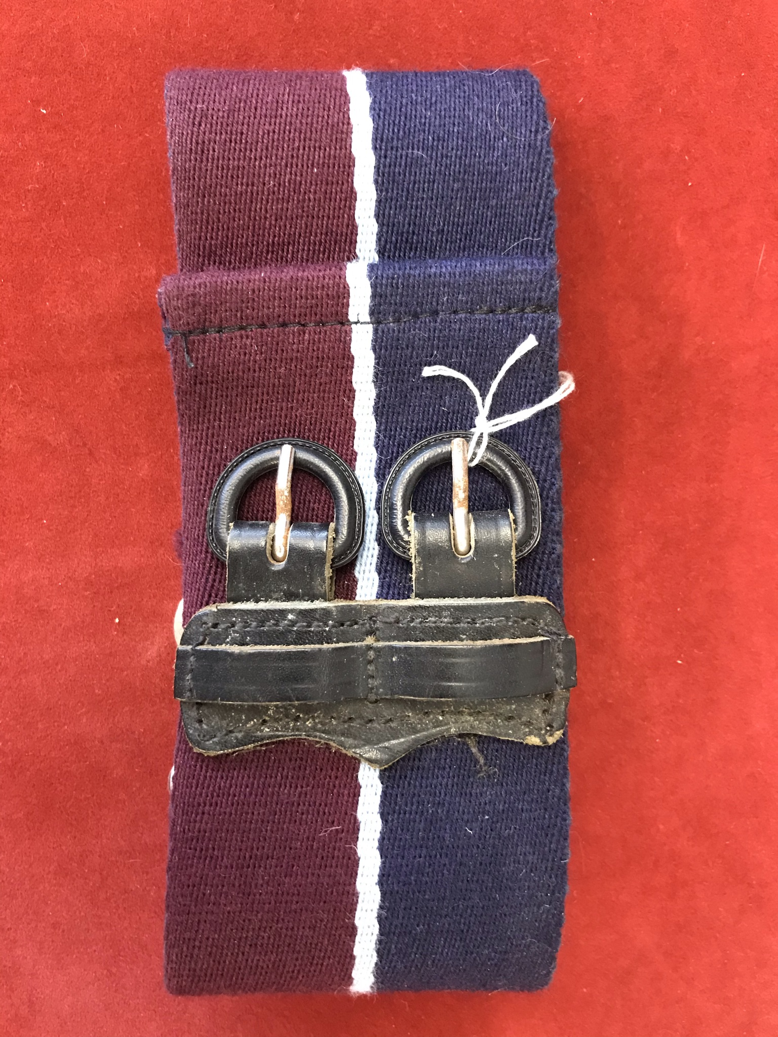 RAF Regiment Stable Belt, early pattern with leather strap buckle, in good condition.