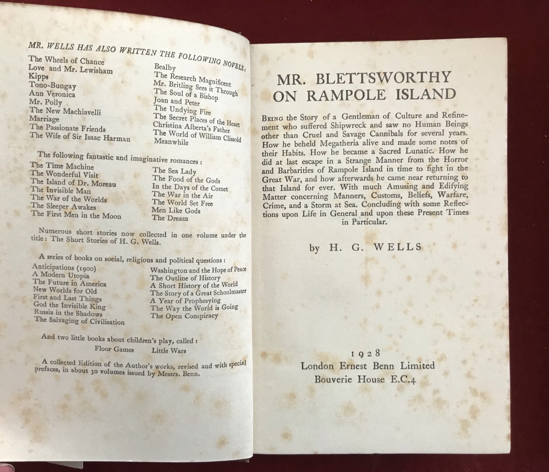 Mr. Blettsworthy on Rampole Island First edition with D/W, foxed edges, 1928 - Image 2 of 2