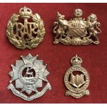 British Cap Badges (4) including: RAF, Northumberland Hussars, Bedfordshire and Hertfordshire Regt