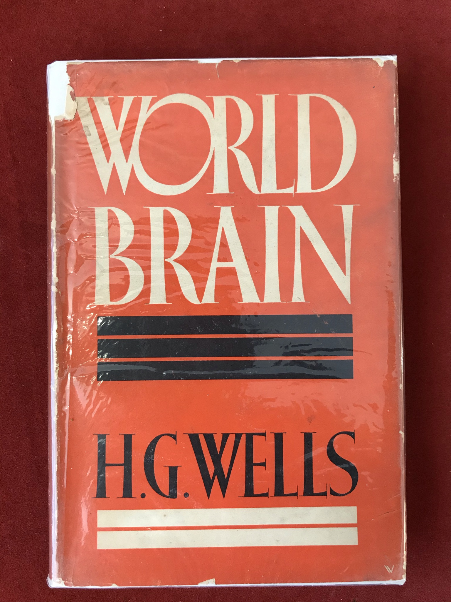World BrainFirst edition, with D/W, spine faded, 1938