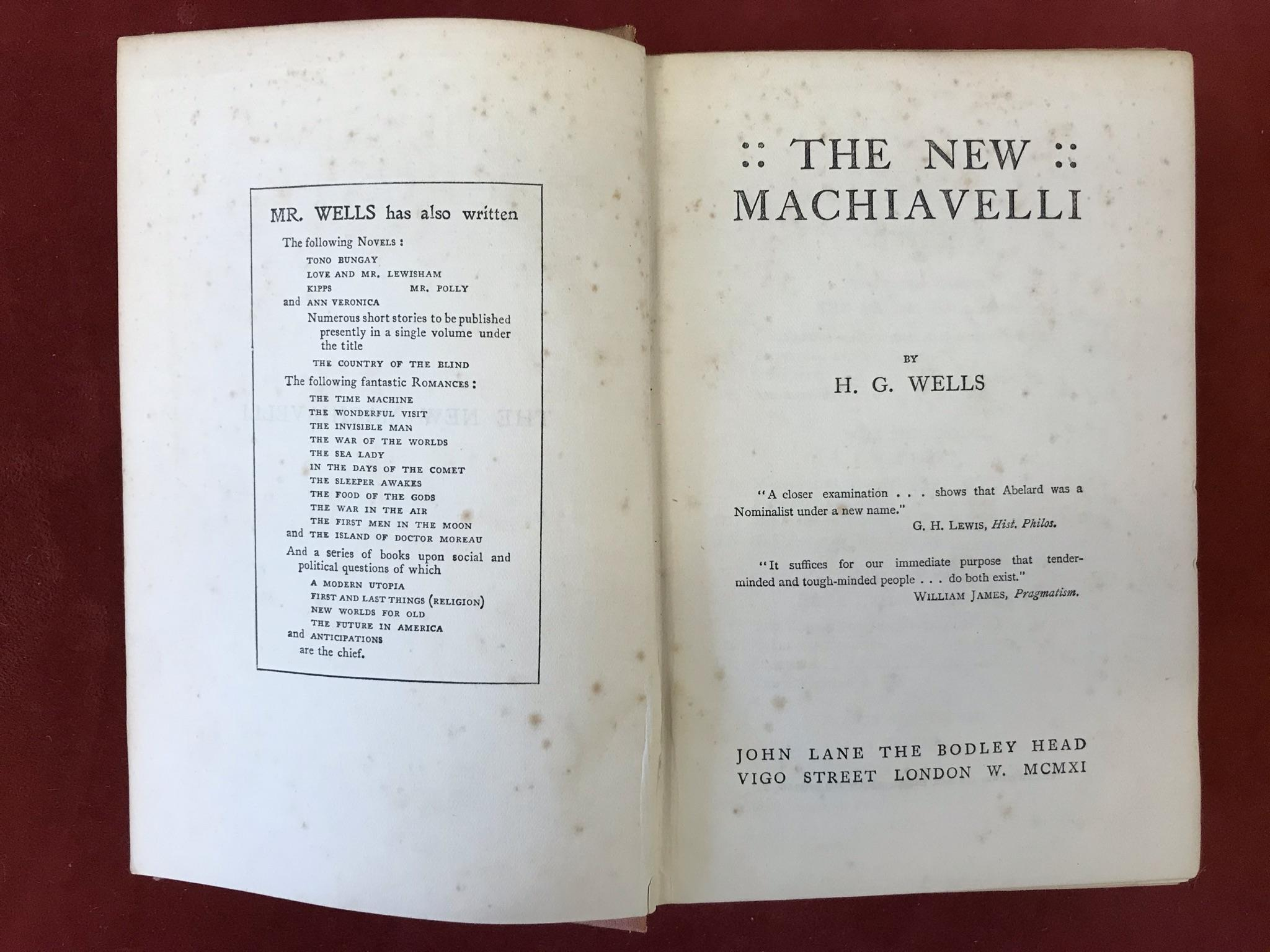 The New MachiavelliFirst edition, 1911 - Image 3 of 3