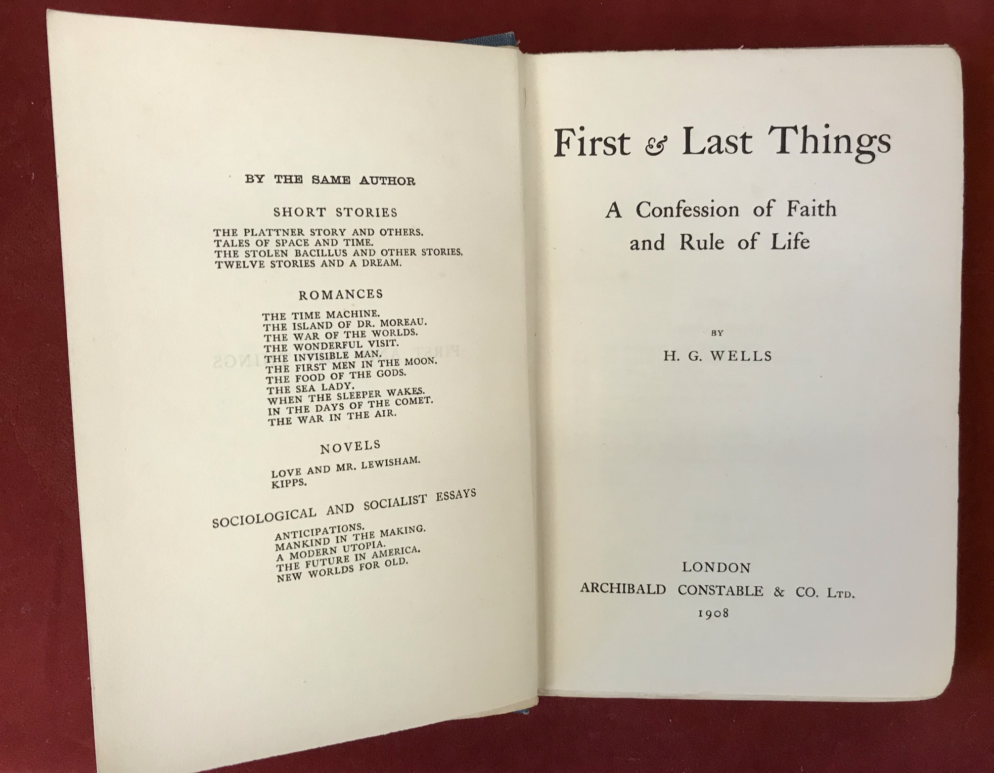 First and Last ThingsFirst edition 1908, no D/W, fair condition, also Tauchnitz 1909, poor - Image 4 of 4