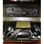 British 1945-1960 Army Line Equipment Field Telephone Set 'J' YA7815, with original Exide 1 1/2