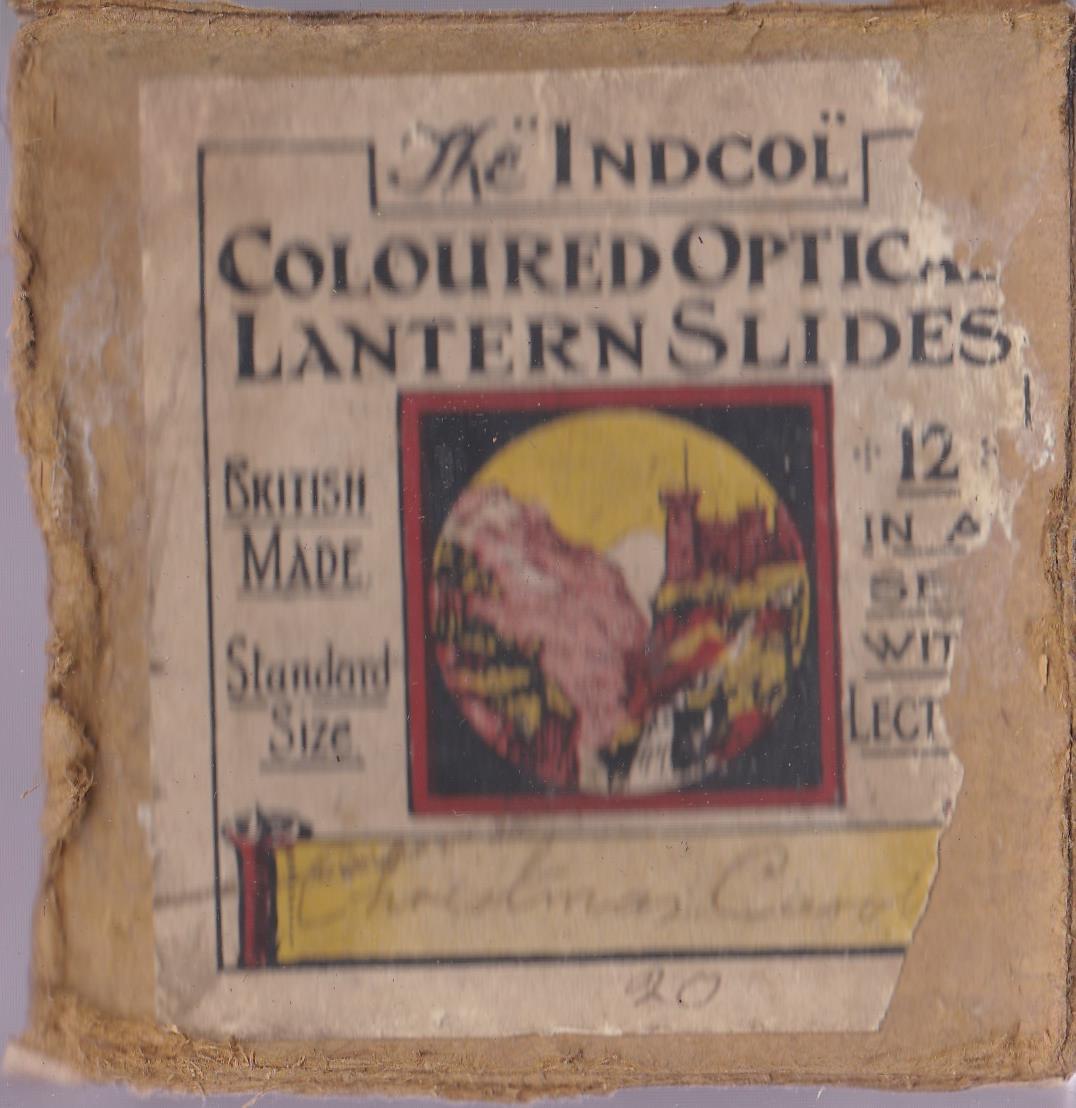 "Christmas Carol Magic Lantern Slides (complete set of 12), the ""Indcol"" Coloured Optical Lantern"