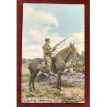 British Pre-WWI Art Postcard showing a Trooper of the 1st King's Dragoon Guards in full field kit