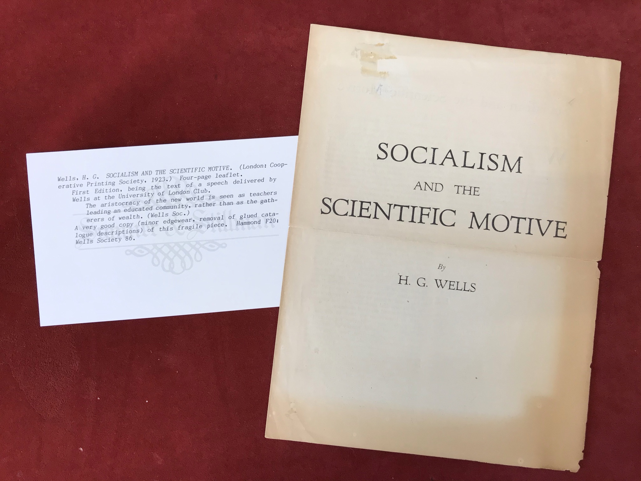 Socialism and the Scientific MotiveFirst edition, 1923