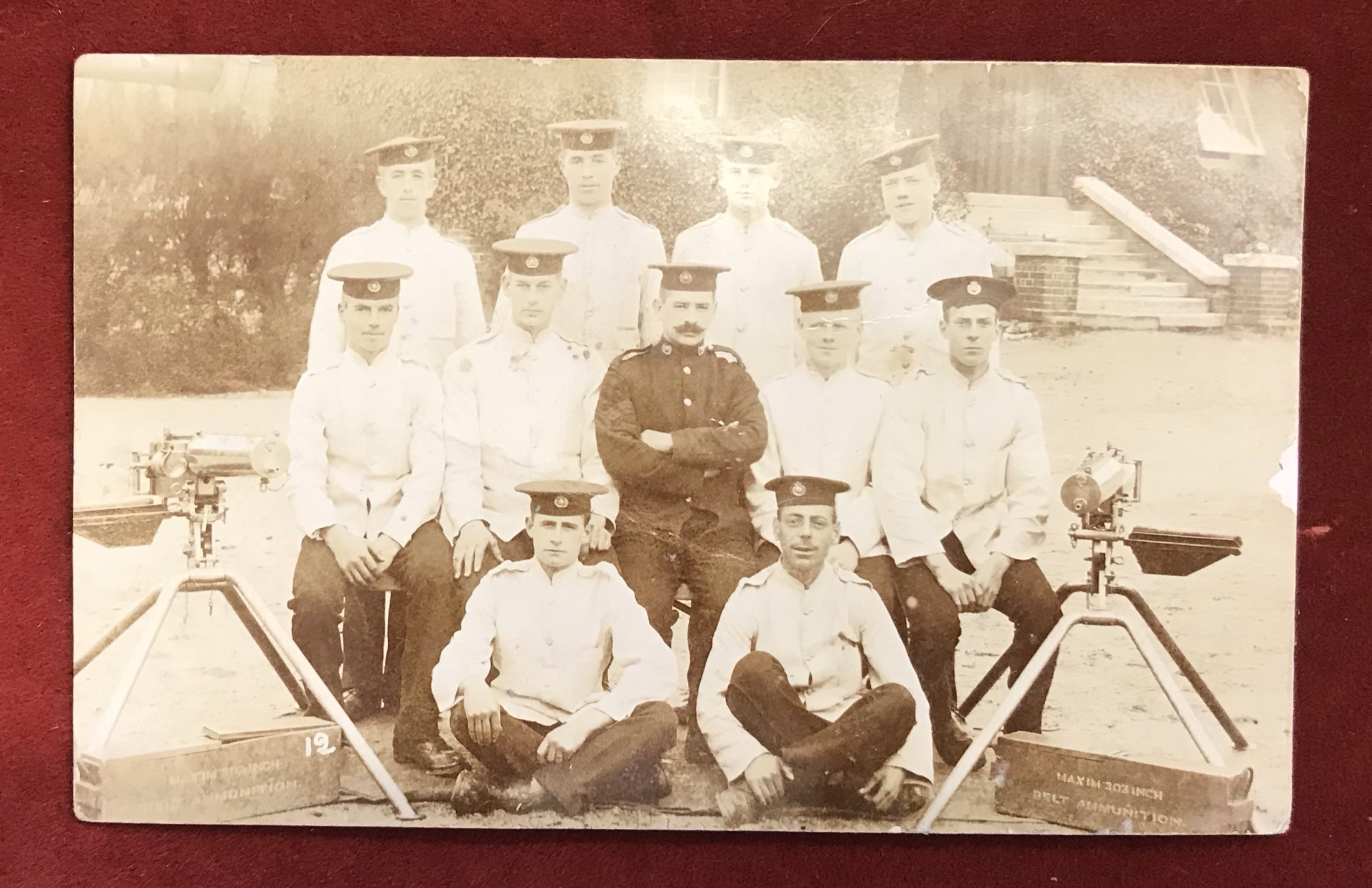 British WWI Royal Marine Light Infantry Corps RP Postcard, showing the crews of a Machine Gun