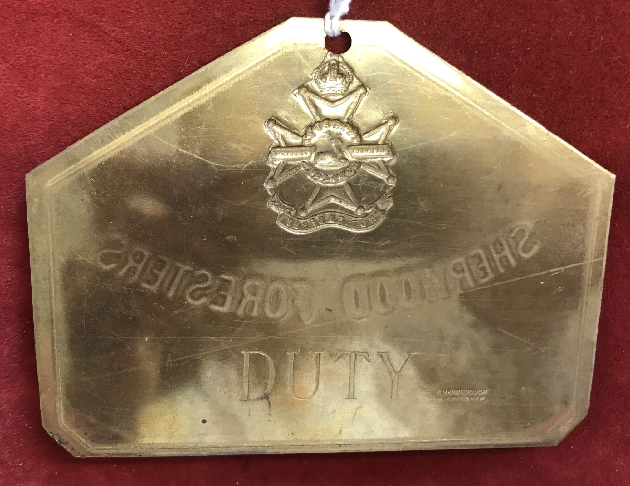 Sherwood Foresters (Nott's & Derby) Regiment WWI Brass 'Duty' Bed Plate, made by E. Narborough, - Image 2 of 2