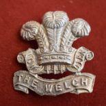 The Welsh Regiment Officers Cap Badge (White-metal), two lugs. K&K: 654. An unusual cast, seems