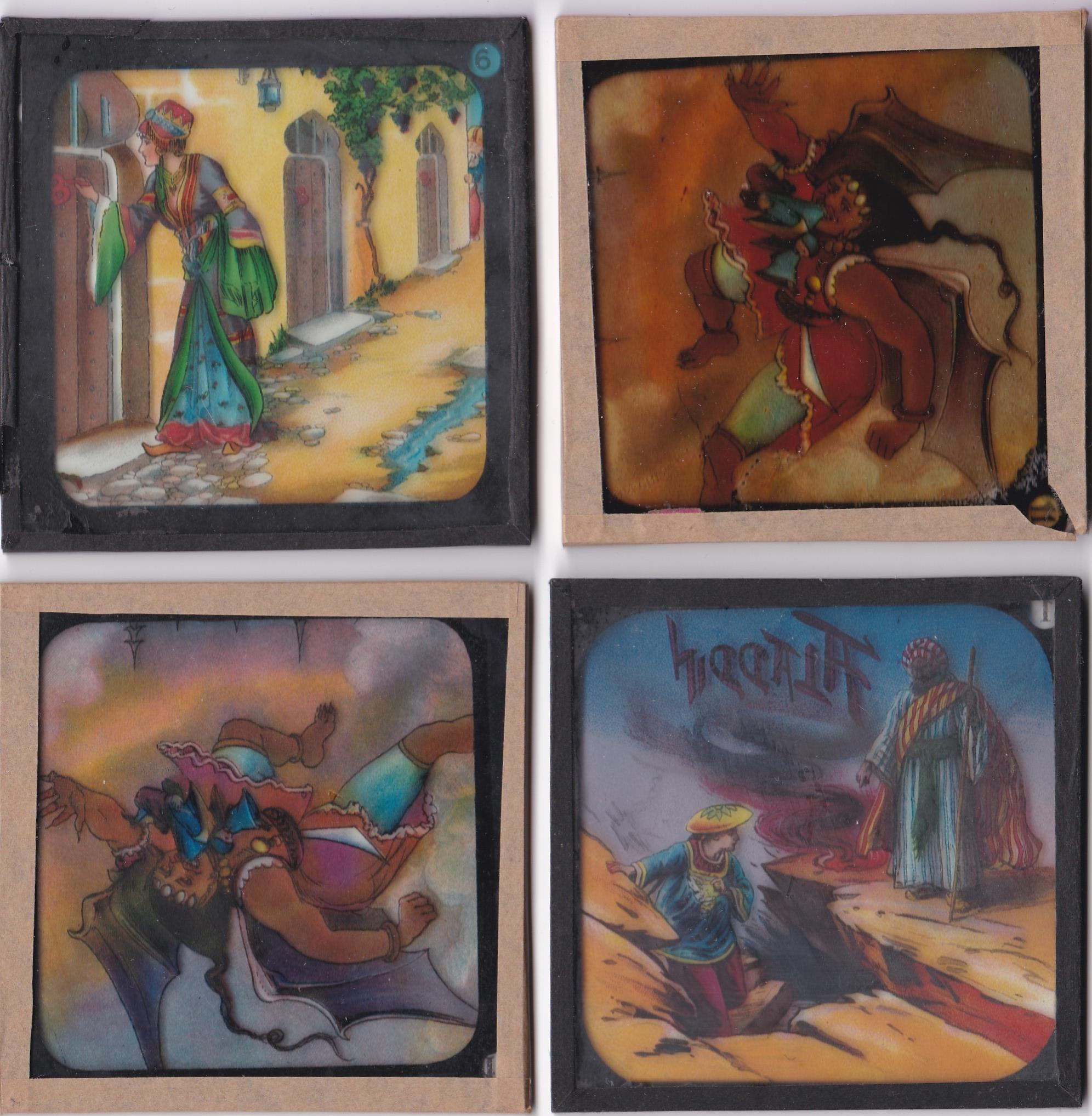 Aladdin Magic Lantern Coloured Lantern Slides (Complete set of 8 with two extra slides) Aladdin is - Image 2 of 2