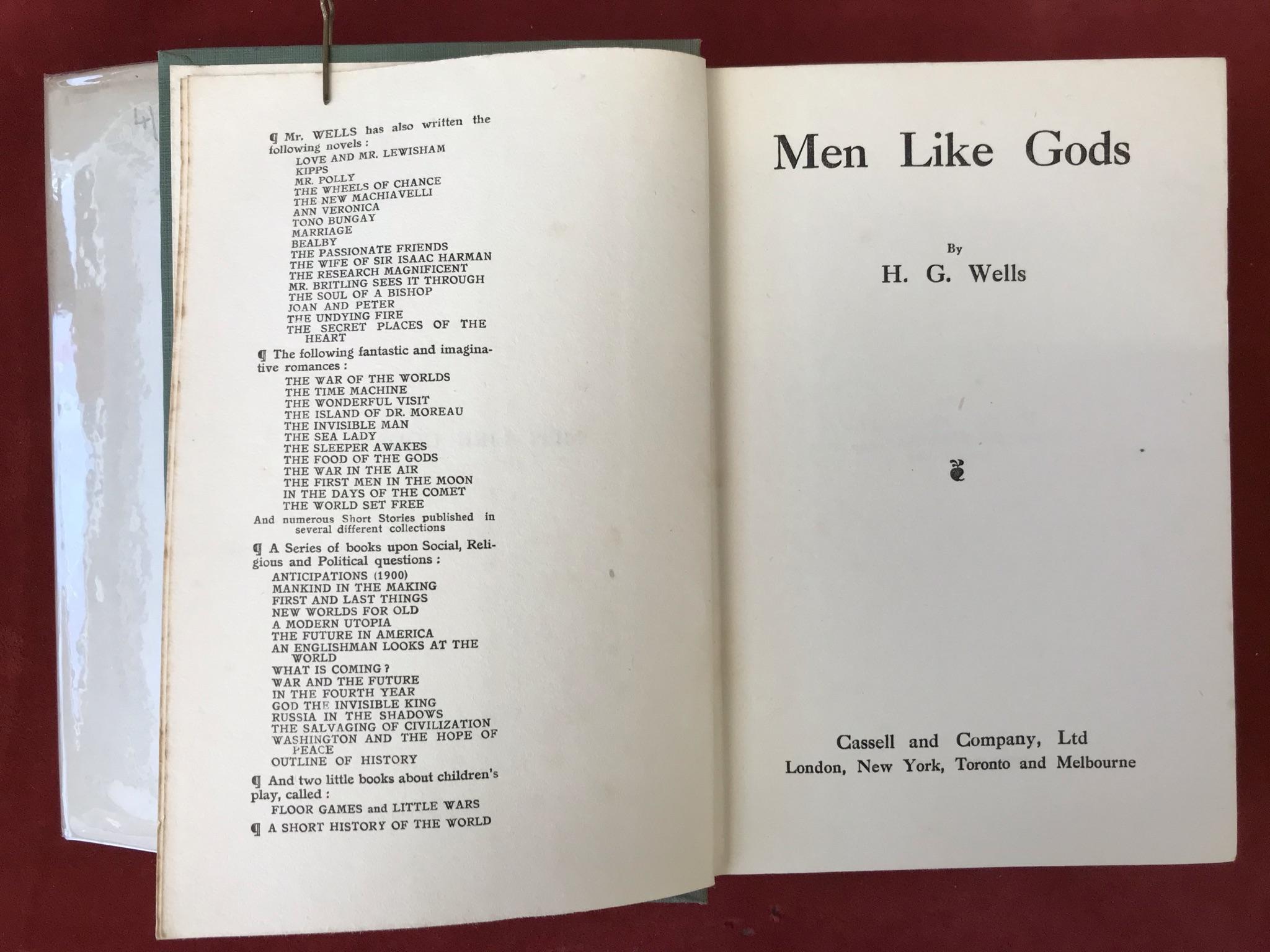 Men Like GodsFirst edition, 1923 - Image 2 of 2