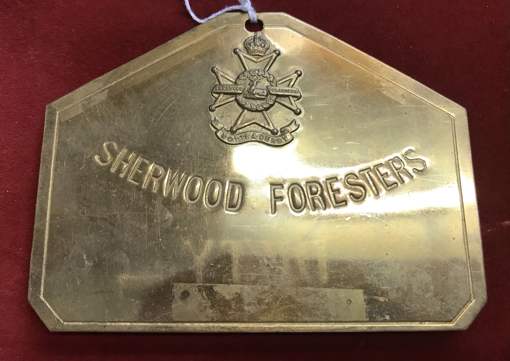 Sherwood Foresters (Nott's & Derby) Regiment WWI Brass 'Duty' Bed Plate, made by E. Narborough,