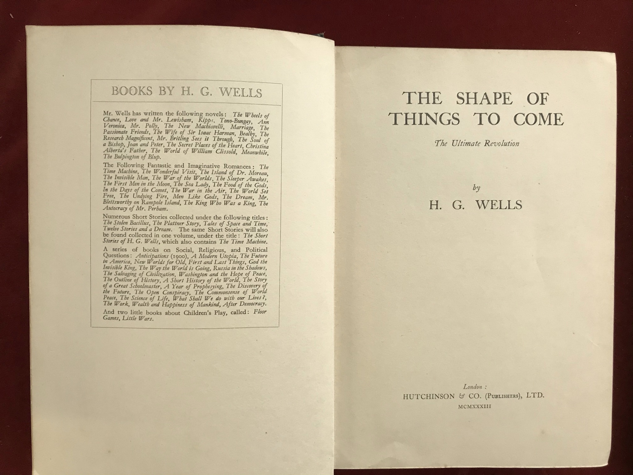 The Shape of Things to Come First edition no D/W, 1933 - Image 3 of 3