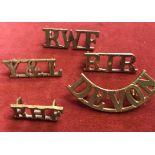 British Shoulder Titles (5) including: York's and Lancs, Devon, Royal Wales Fusiliers etc. (Brass)