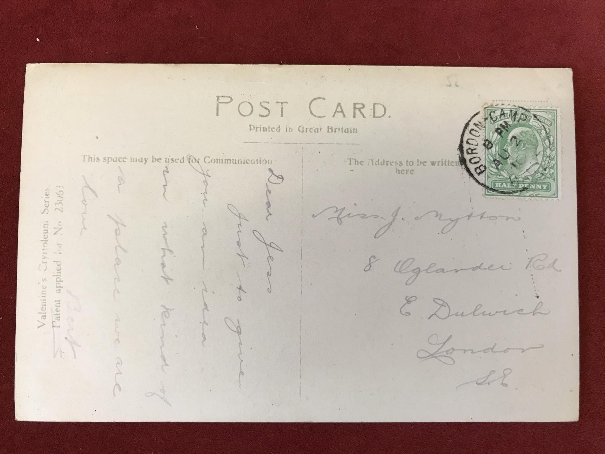 Military Camp Postcard - 1910 Bordon Camp/Hants scarce *** Single ring date stamp on colour - Image 2 of 2