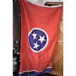 American 1980/90's era Tennessee Flag 3' x 5', a large red flag with a central blue circle having