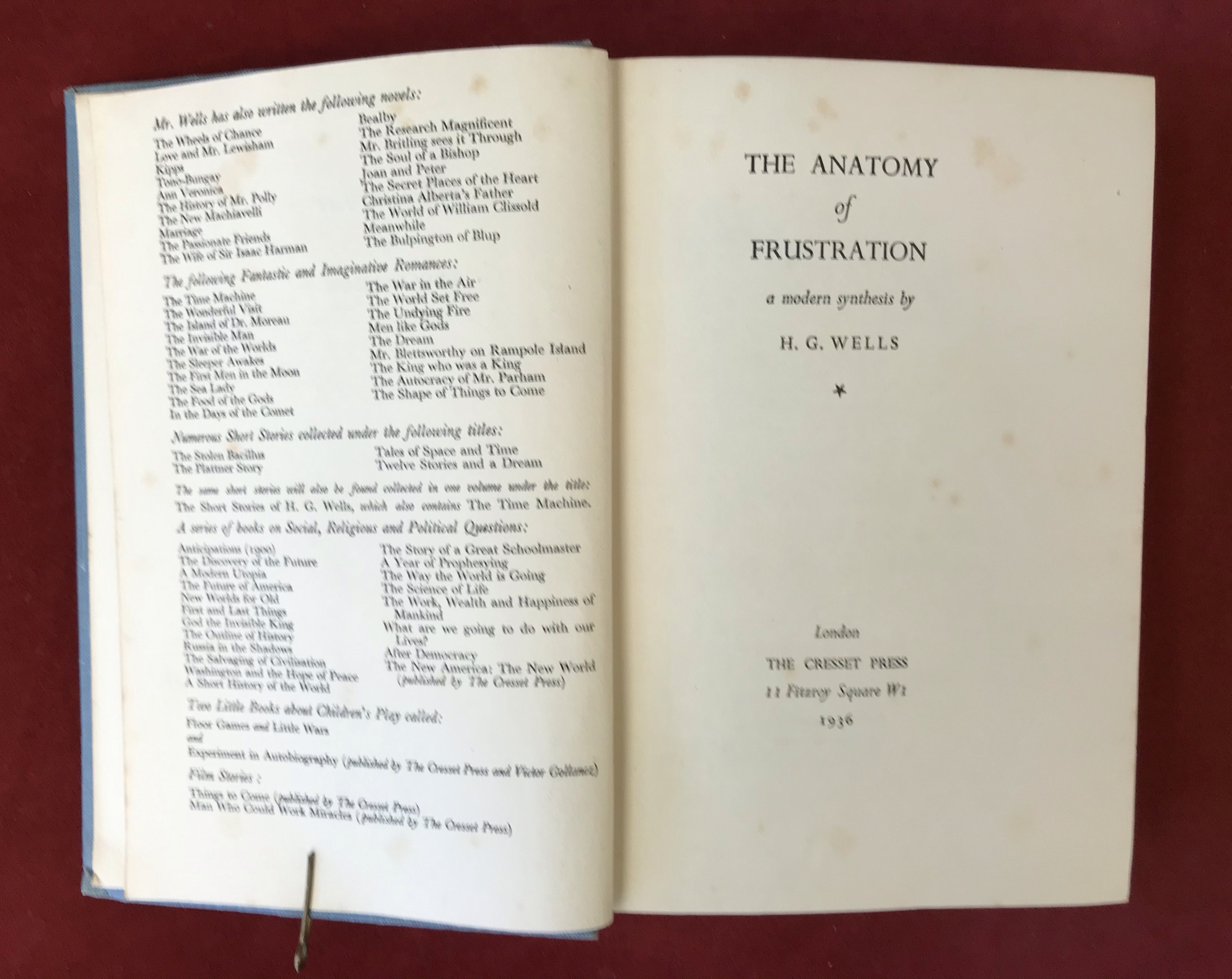 The Anatomy of FrustrationFirst edition no D/W, 1936 - Image 2 of 2
