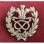 64th Foot ( 2nd Staffordshire) Regiment Pouch Badge, a large badge (Gilt-Brass, lugs). A nice copy