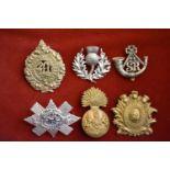 Scottish Glengarry Badges (6) 1st Batt Midlothian Vol Regt, Scottish Rifles, Argyll and