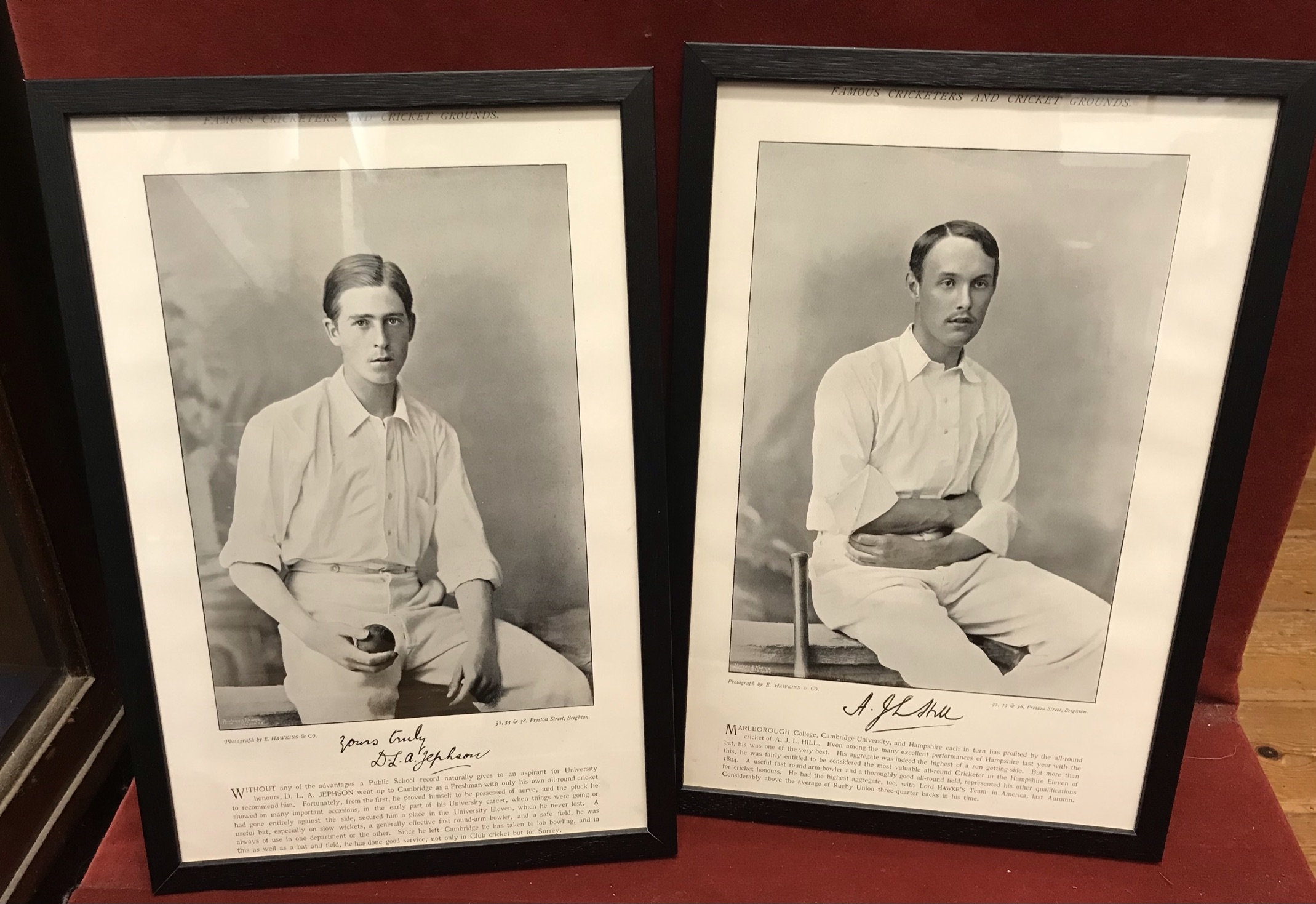 """Victorian Cricketers - Black and white photographs 7"""" x 12"""" Printed in """"Famous Cricketers and"""