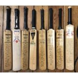 1950s & 1960s Miniature cricket bats six with facsimile autographs and two with genuine