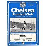 Chelsea v Bolton Wanderers 1963 November 30th League team change in pen half-time scoreboard in pen