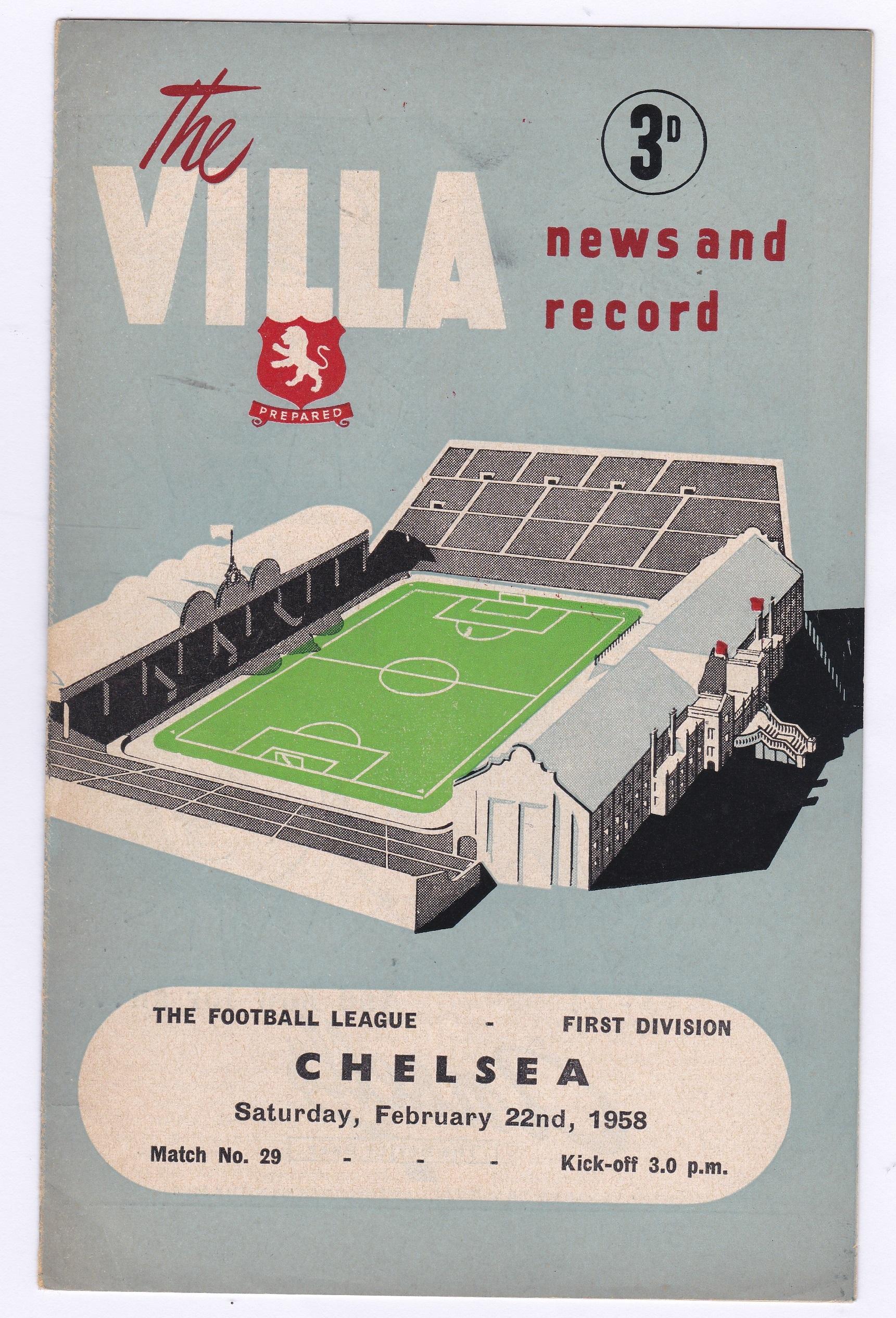 Villa news & record Chelsea v Aston Villa 1958 February 22nd Div. 1