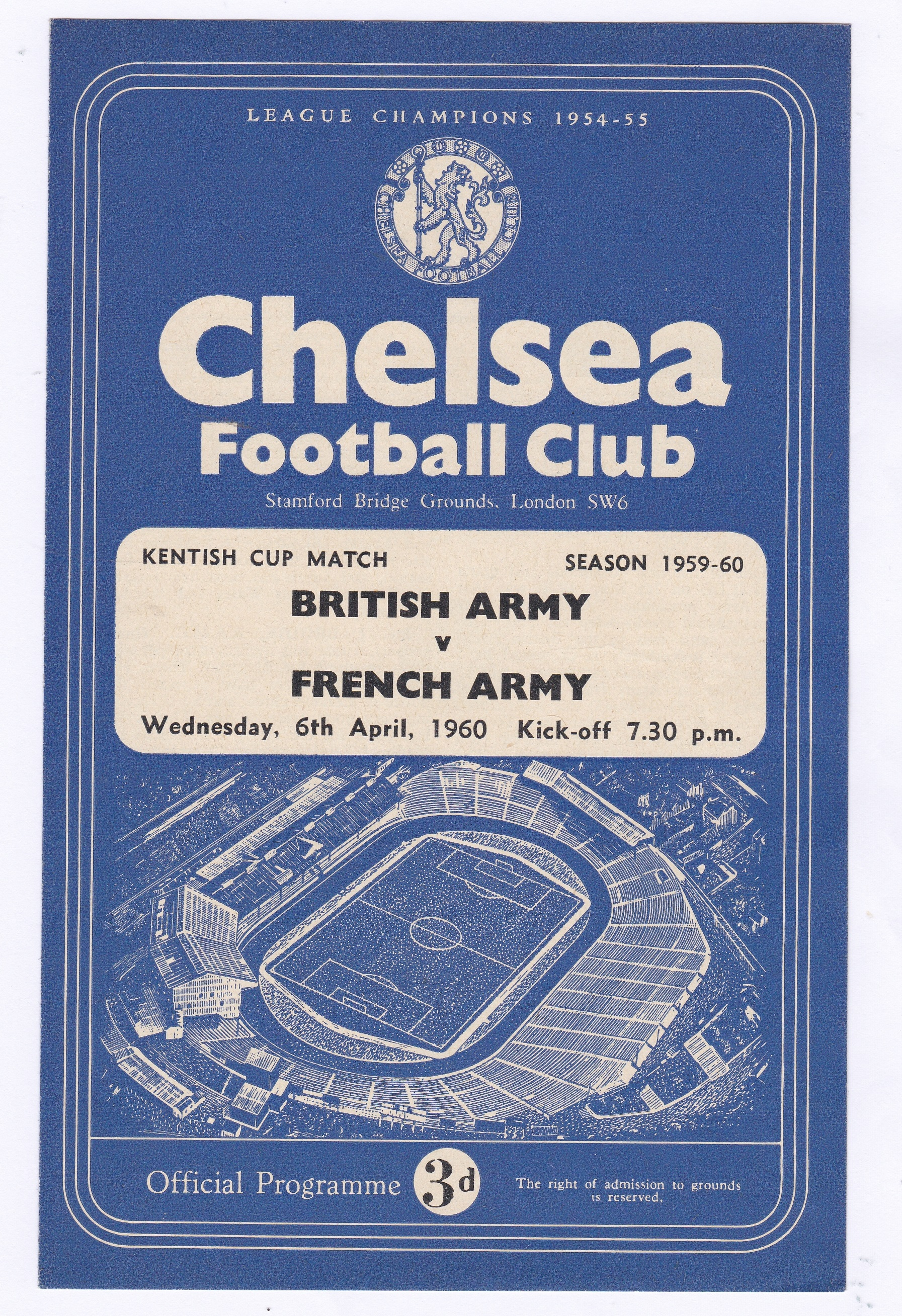 British Army v French Army 1960 April 6th Kentish Cup Match score in pen