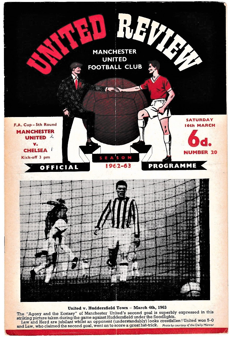 Manchester United v Chelsea 1963 March 16th League vertical crease score in pen front, score and