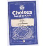 Chelsea v Sunderland 1957 March 23rd Div. 1 vertical crease score in pen
