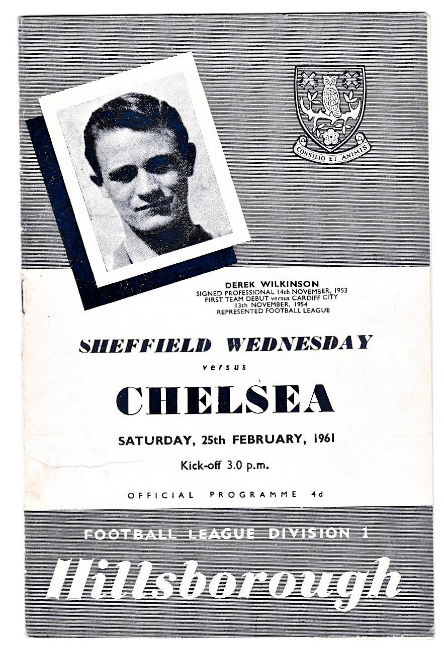 Sheffield Wednesday v Chelsea 1961 February 25th League horizontal creases score in pen