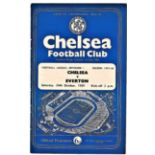 Chelsea v Everton 1959 October 24th League horizontal crease half time scoreboard in pen