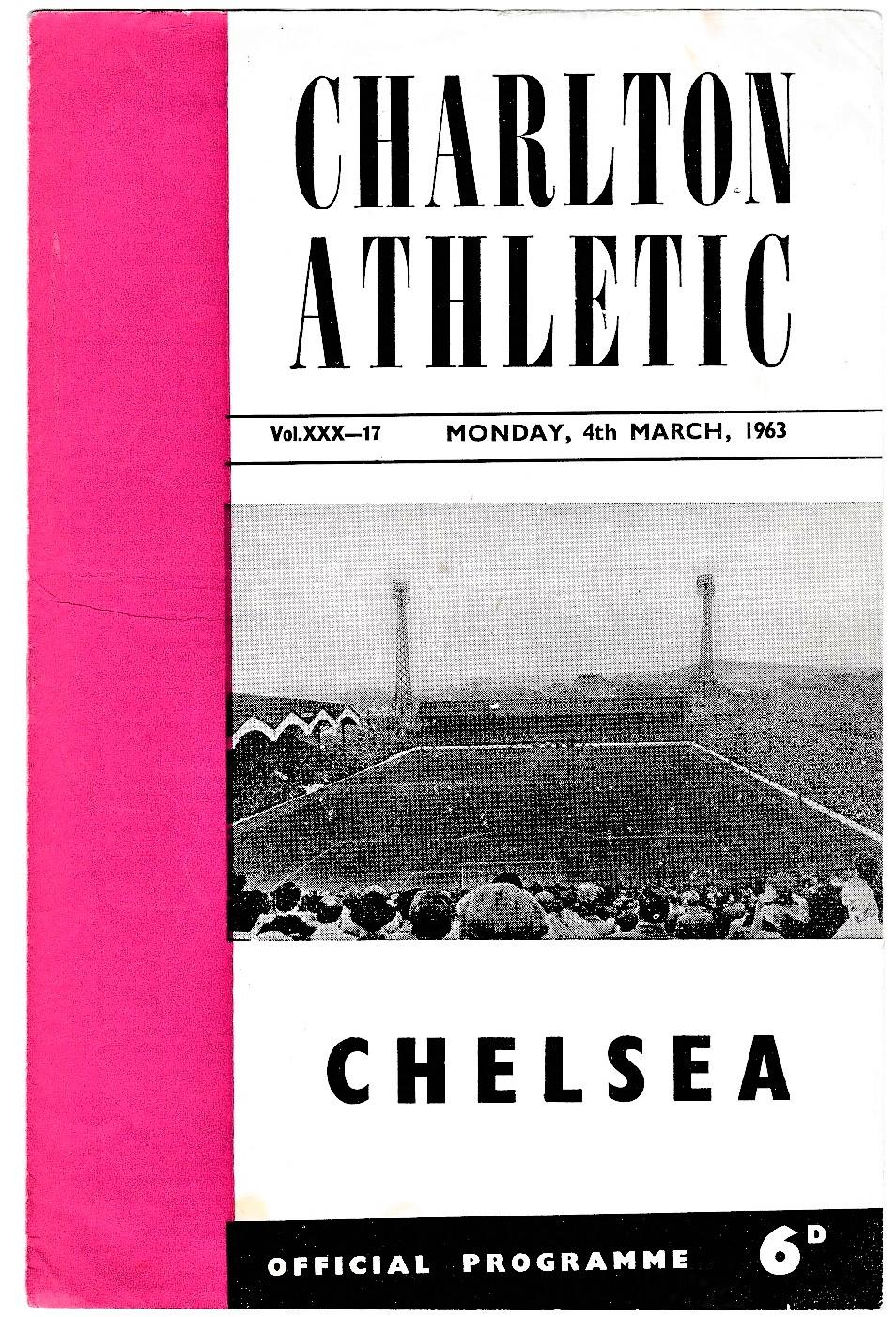 Charlton Athletic v Chelsea 1963 March 4th League horizontal crease