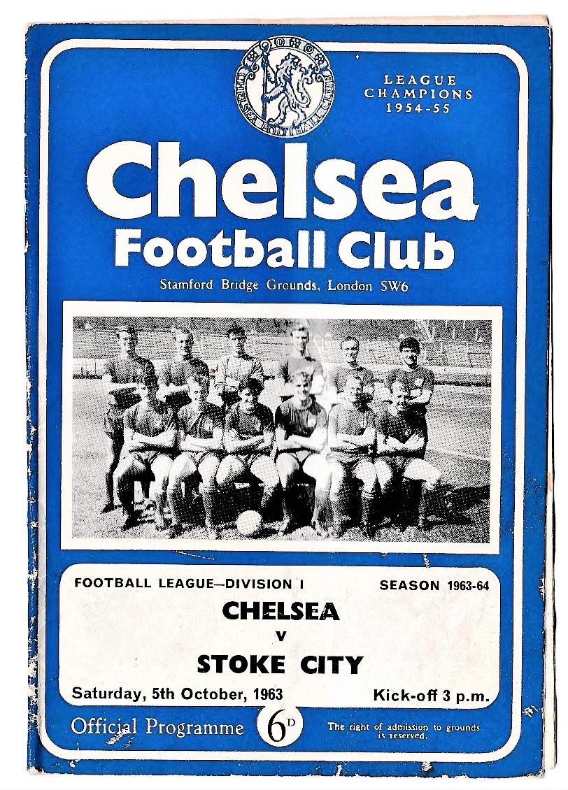 Chelsea v Stoke City 1963 October 9th League vertical creases bit worn