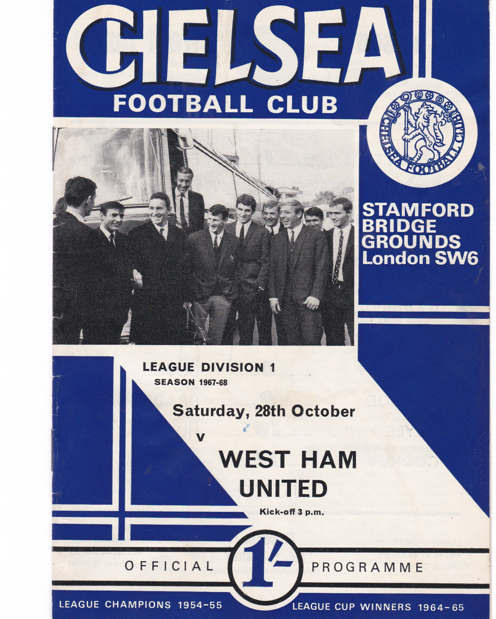 Chelsea v West Ham United 1967 October 28th League