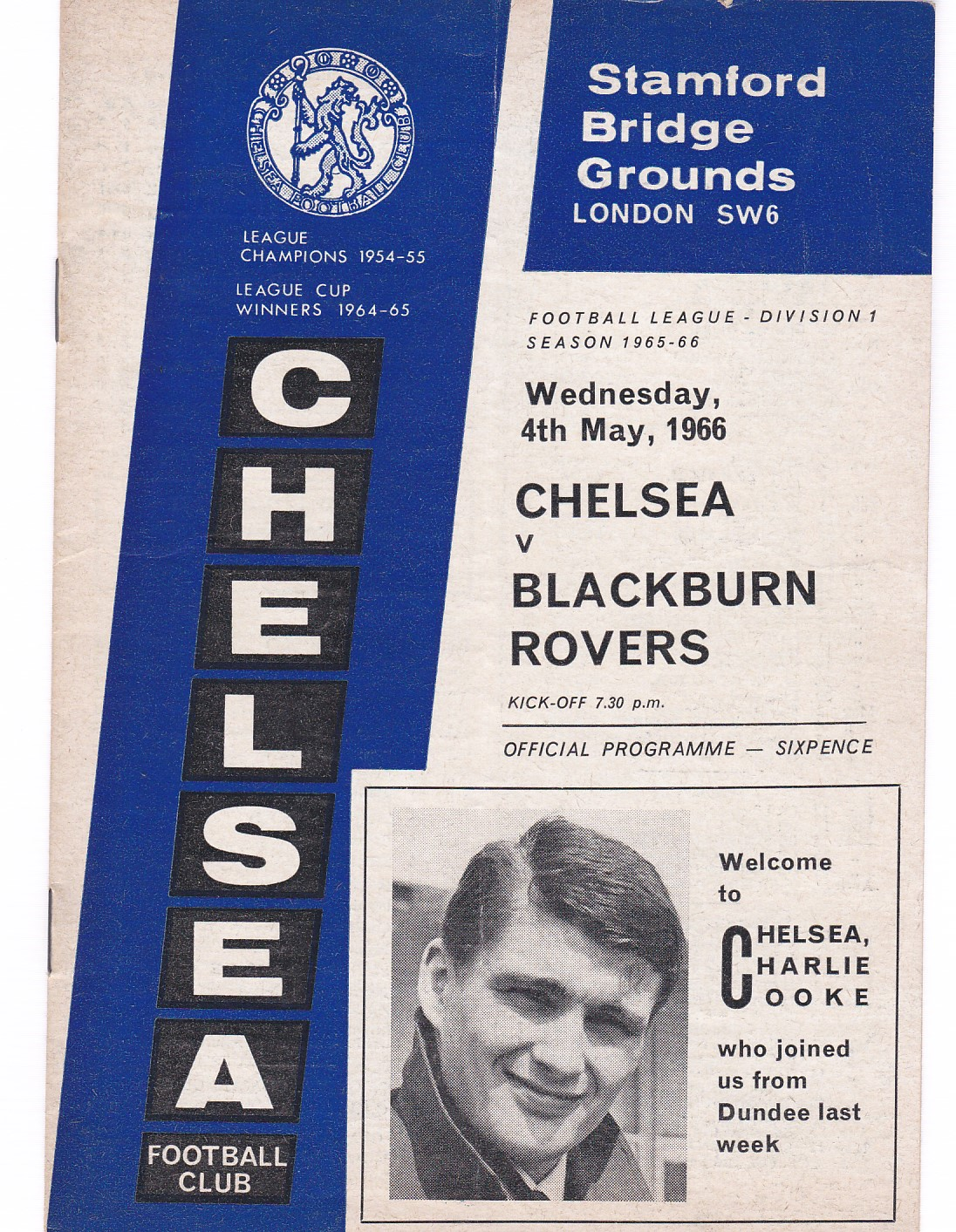 Chelsea v Blackburn Rovers 1966 May 4th vertical crease score and team change in pen