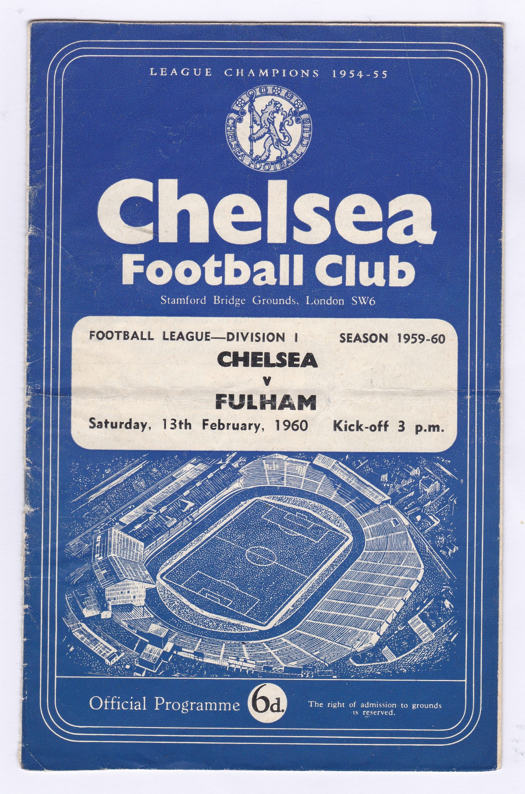 Chelsea v Fulham 1960 February 13th Div.1 vertical crease bottom third back page torn off