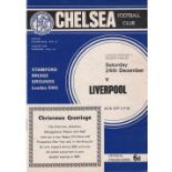 Chelsea v Liverpool 1966 December 24th League coupon removed back