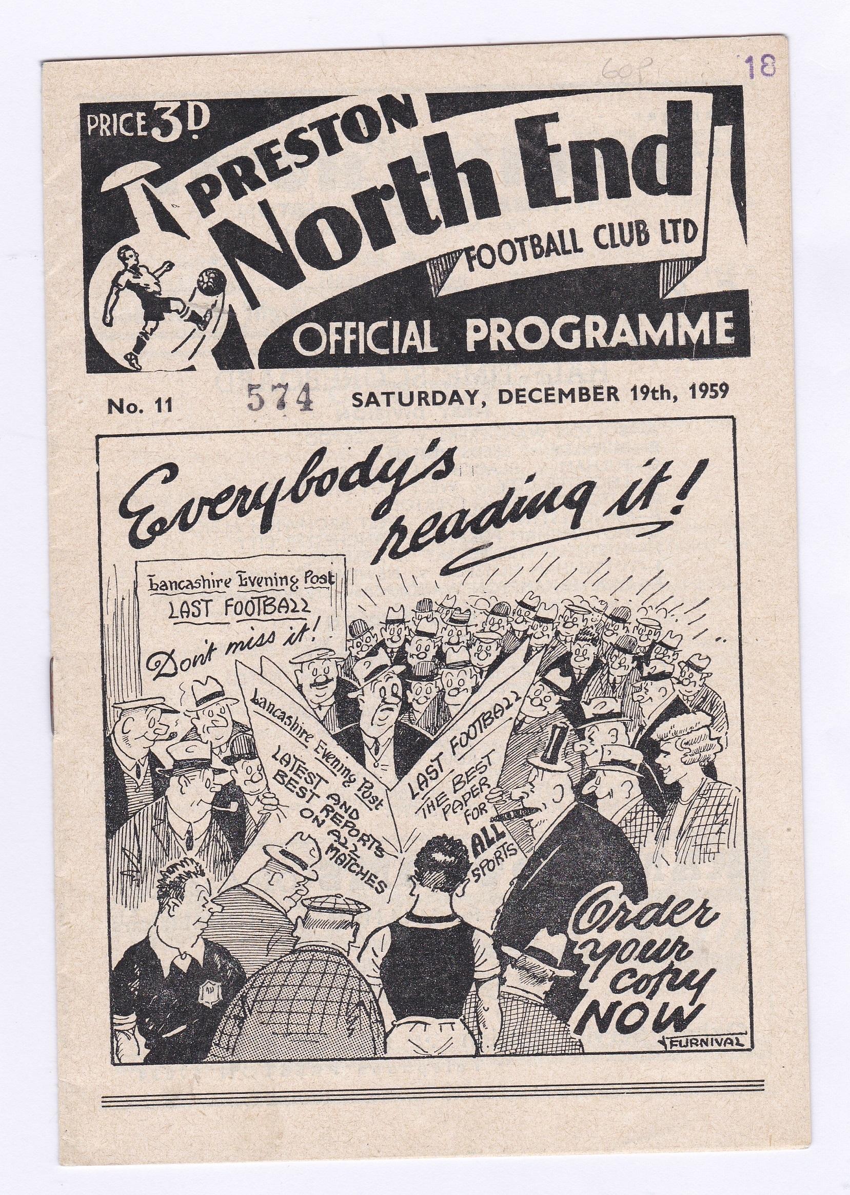 Preston North End v Chelsea 1959 December 19th rusty staple