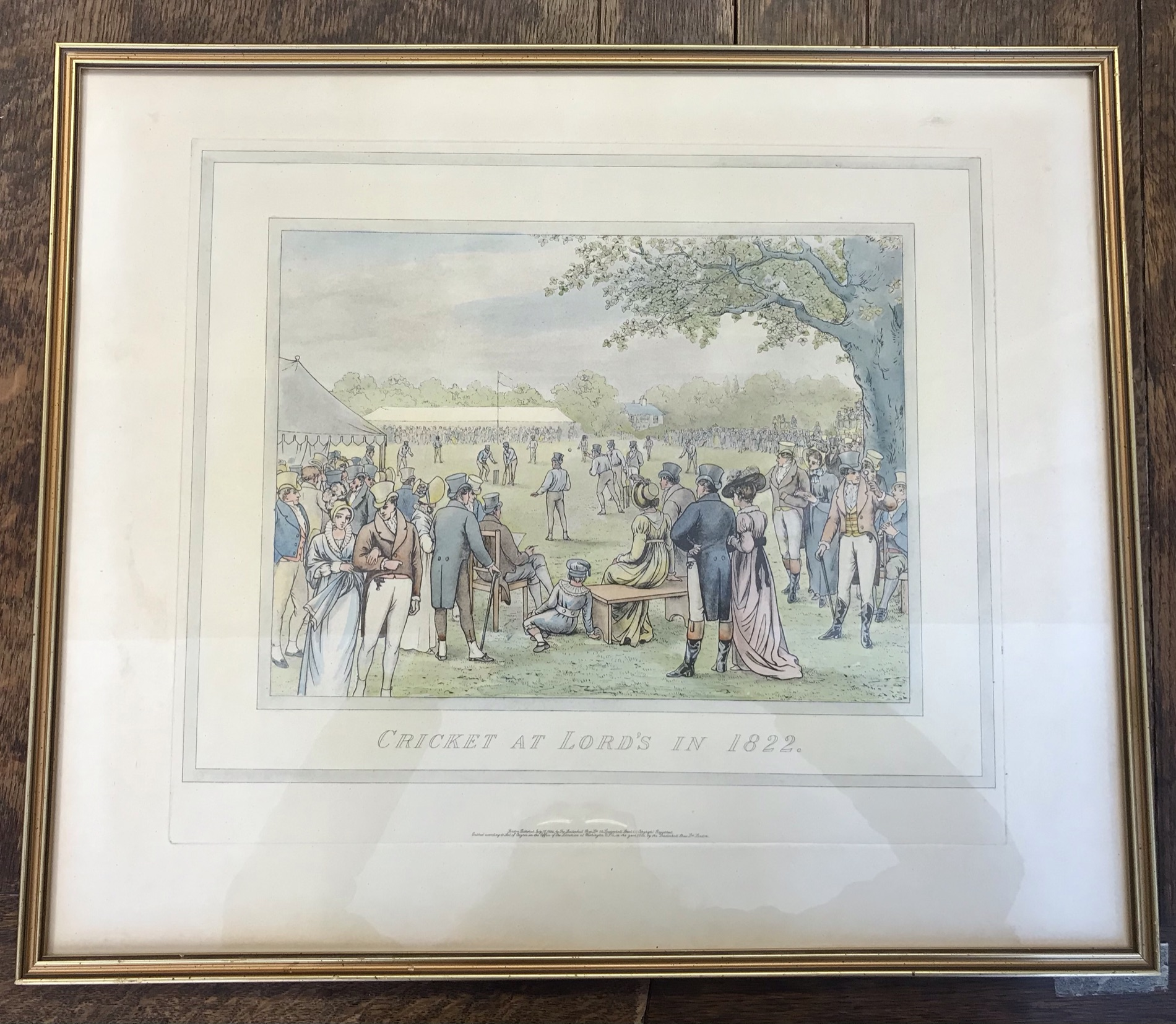"""Antique Cricket print, """"Cricket at Lords"""" in 1822, published 1884, superb with gilt frame and"""