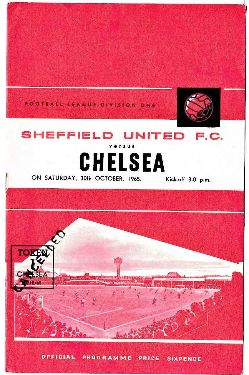 Sheffield United v Chelsea 1965 October 30th League team change and score in pen rusty staple
