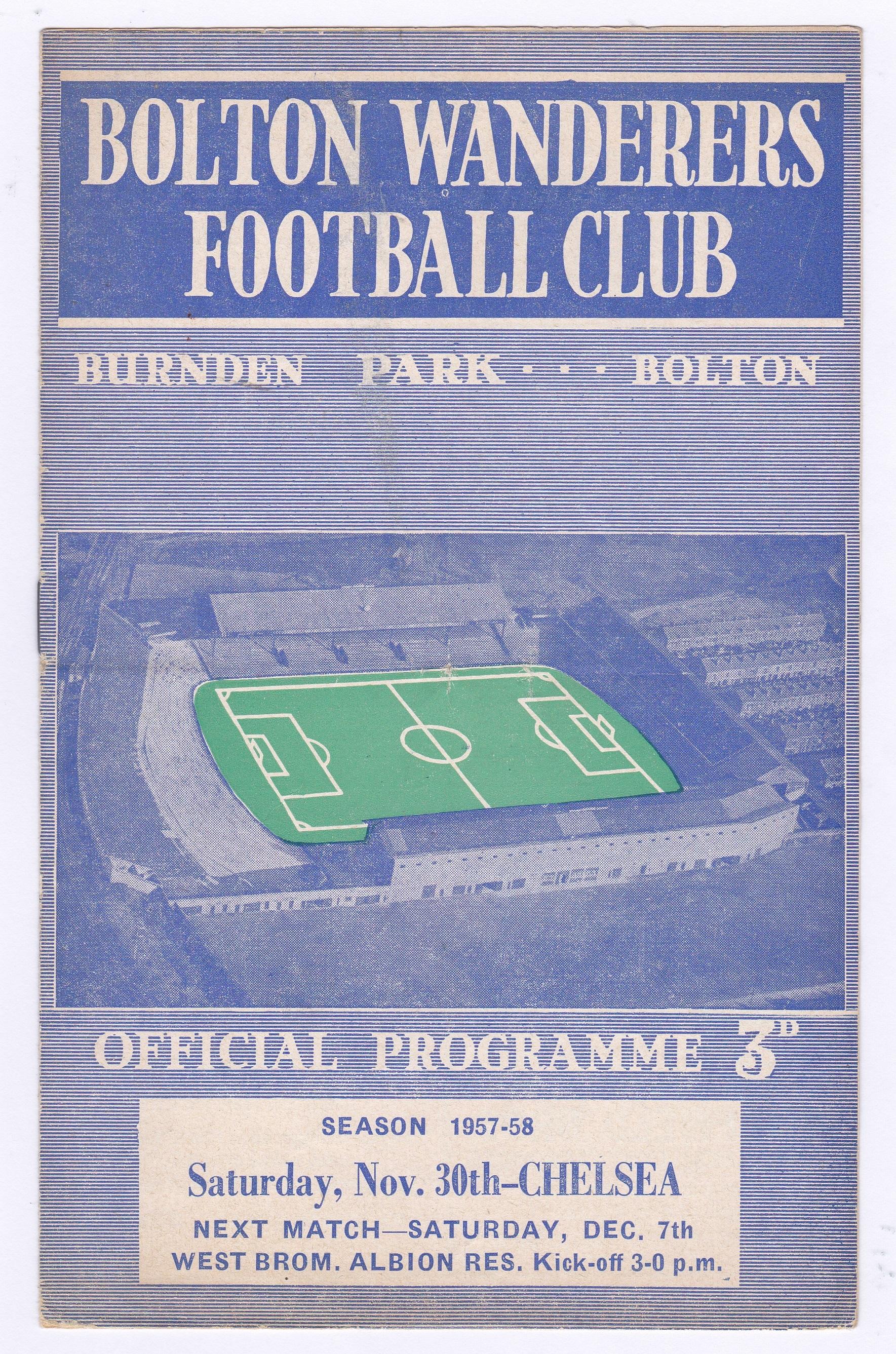 Bolton Wanderers v Chelsea 1957 November 30th scores in pen