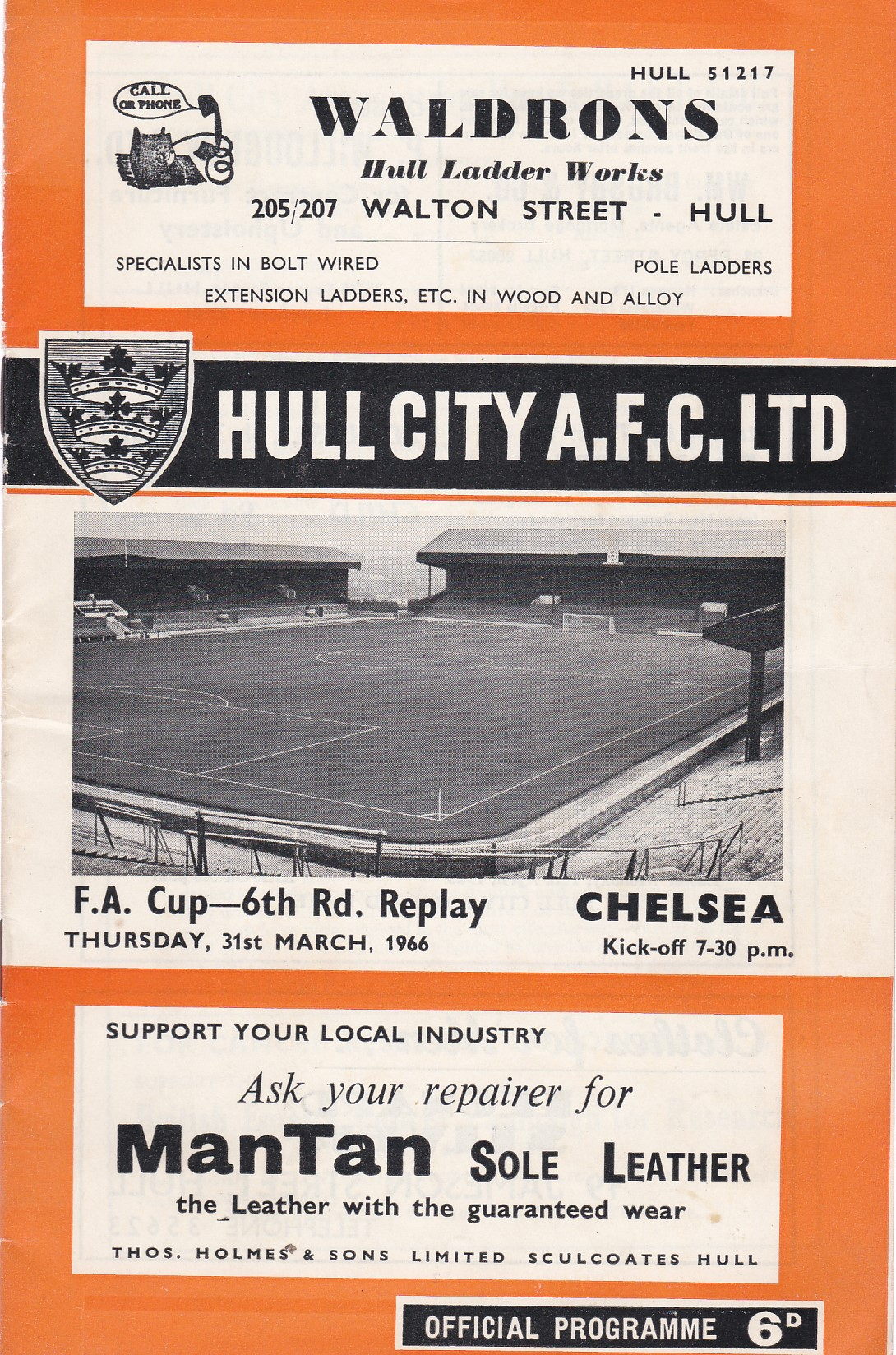 Hull City v Chelsea 1966 March 31st FA Cup Sixth Round Replay horizontal crease