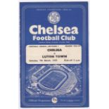 Chelsea v Luton Town 1959 March 7th Div. 1 horizontal & vertical creases