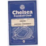 Chelsea v Sheffield Wednesday 1957 October 5th Div. 1 horizontal & vertical creases score in team