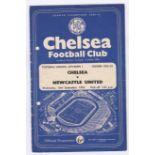 Chelsea v Newcastle United 1958 September 10th Div. 1 vertical crease team change in pen hole