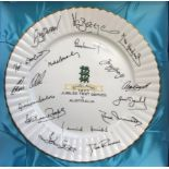 """England v Australia 1977 Jubilee Test series Royal Stafford 10"""" plate, with signatures of both"""