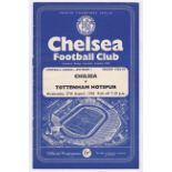 Chelsea v Tottenham Hotspur 1958 August 27th Div. 1 vertical crease score in pen