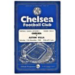 Chelsea v Aston Villa 1960 December 17th League vertical crease score & team change in pen