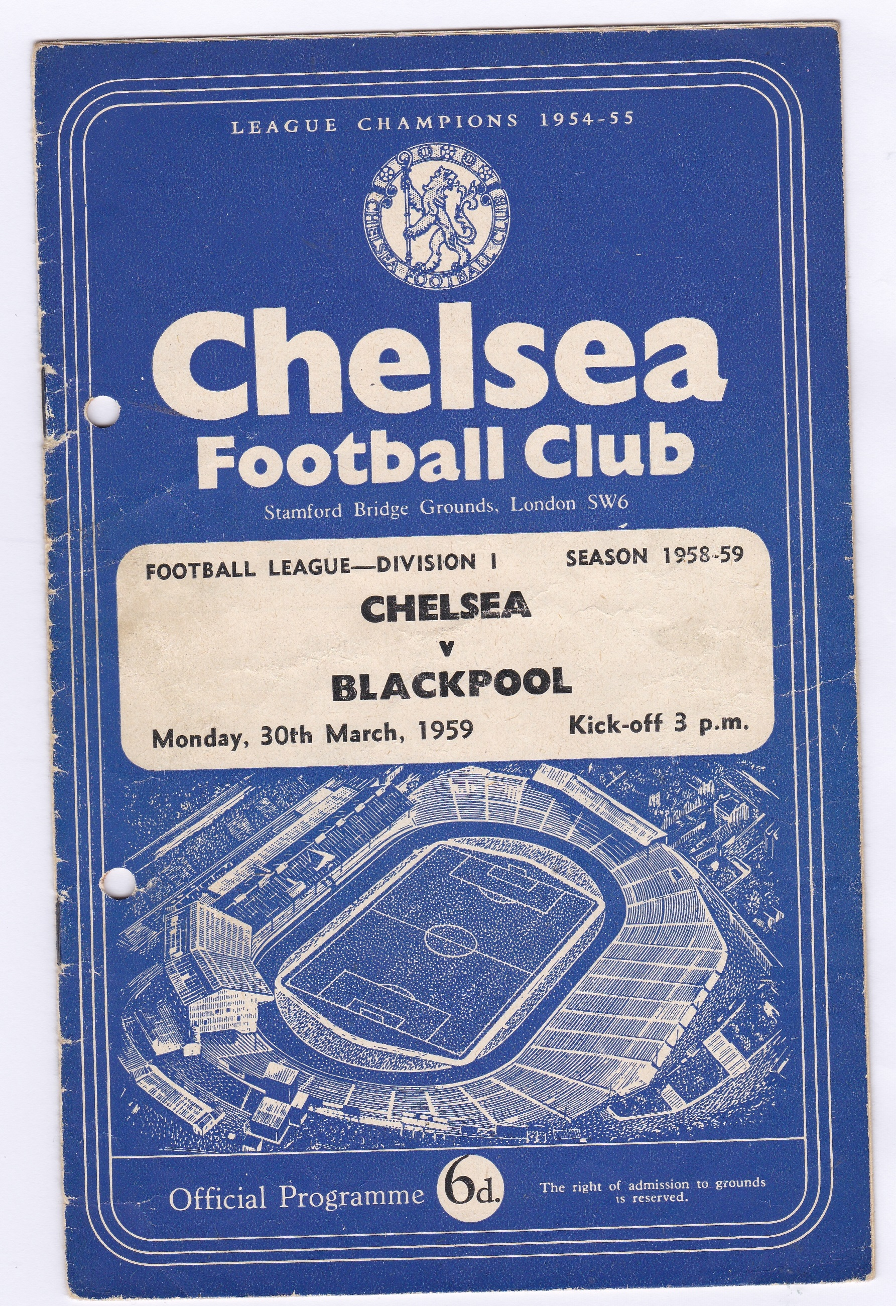 Chelsea v Blackpool 1959 March 30th Div. 1 team change in pen rust stain hole punched left